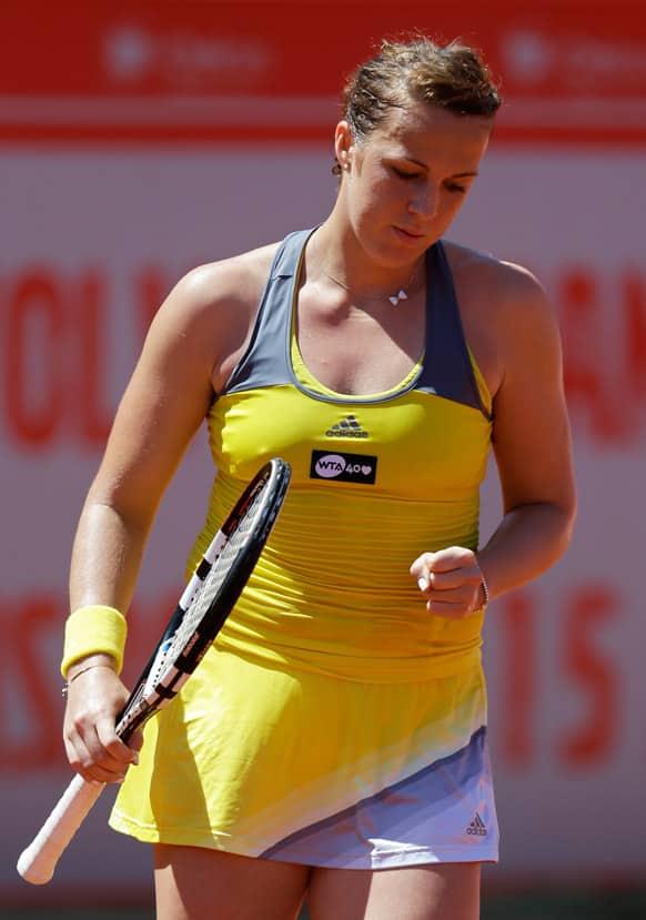 Russia`s Anastasia Pavlyuchenkova reacts after winning her Portugal Open semifinal tennis match against Switzerland`s Romina Oprandi in Oeiras, outside Lisbon.
