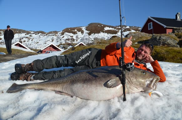 German angler Michael Eisele poses with the 47 kg cod fish measuring 160 cm that he caught in the Breivikfjord near Hammerfest, northern Norway.
