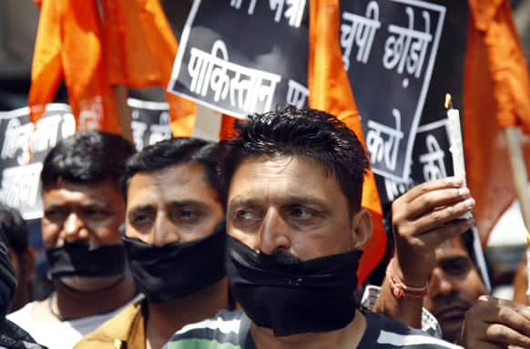 Shiv Sena party activists participate in a protest against Pakistan after Sarabjit Singh, a convicted Indian who was on Pakistan`s death row, died from a head injury after two inmates attacked him with a brick in a Lahore jail, in Jammu.