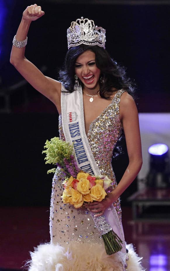 Carolina Brid celebrates after being crowned Miss Panama 2013 in Panama City. Brid will represent Panama at the Miss Universe beauty pageant.