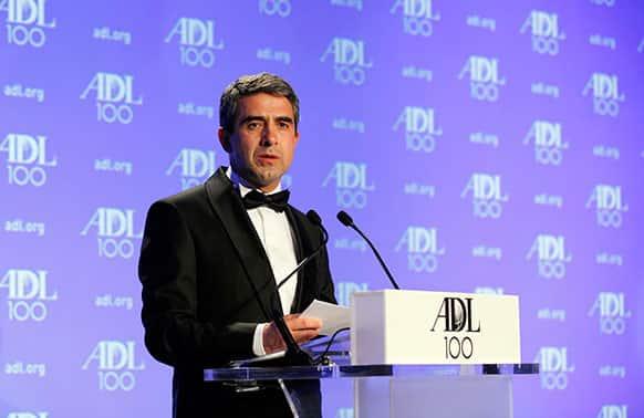 Rosen Plevneliev, President of Bulgaria, addresses the Anti-Defamation League`s 2013 Centennial Gala, in Washington D.C.