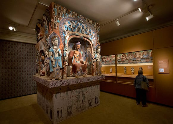 The central pillar of Mogao Cave 432, from the Western Wei Dynasty, 535-556 AD, is presented in