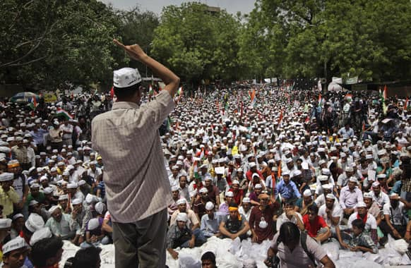 Aam Admi Party leader Arvind Kejirwal, addresses supporters during a protest against the Delhi government demanding reduction in water and power tariffs in New Delhi.