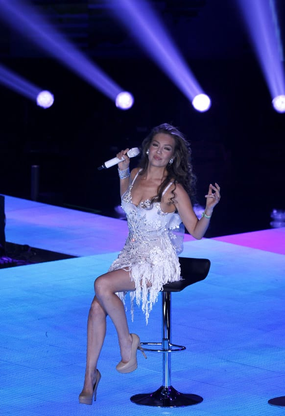 Mexican actress-singer Thalia performs her VIVA! concert tour at the Auditorio Nacional in Mexico City.