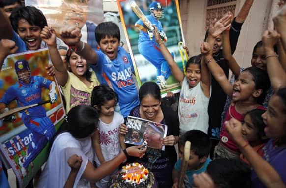 Cricket fans celebrate Sachin Tendulkar`s 40th birthday in Hyderabad.