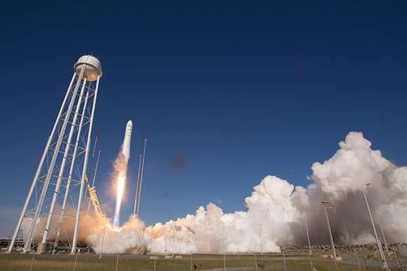 Orbital Sciences Corp. Antares rocket lifts off from the launchpad at the NASA facility on Wallops Island Va.