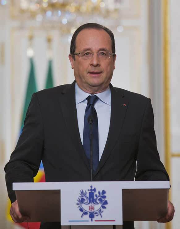 French President Francois Hollande speaks at the Elysee Palace in Paris.