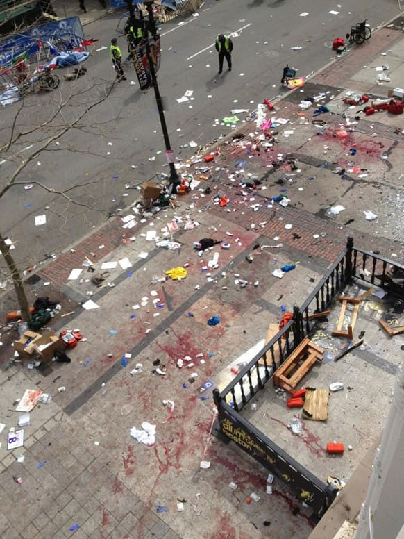 Scene after two explosions occurred during the 2013 Boston Marathon in Boston.