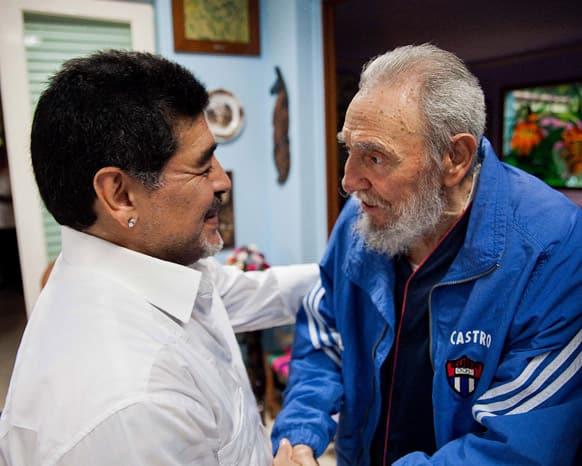 Fidel Castro shakes hands with former soccer star Diego Maradona in Havana, Cuba.