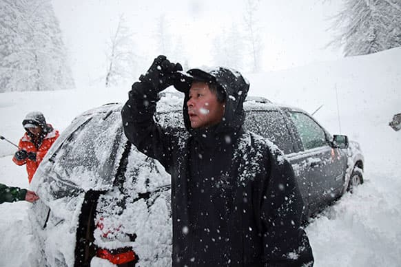 This photo shows Won Shin, of Mukilteo, Wash. who was among the four who made it off the mountain first. Shin, was among the group of 12 snowshoers who were on Red Mountain at the time of the avalanche.