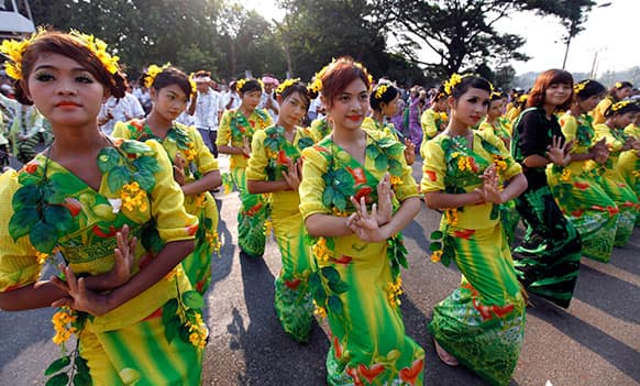 A Myanmar dance troupe performs in the traditional Thingyan celebrations in Yangon, Myanmar.