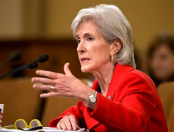 Health and Human Services (HHS) Secretary Kathleen Sebelius testifies on Capitol Hill in Washington, before the House Ways and Means Committee hearing on President Barack Obama`s budget proposal for fiscal year 2014, and the HHS.