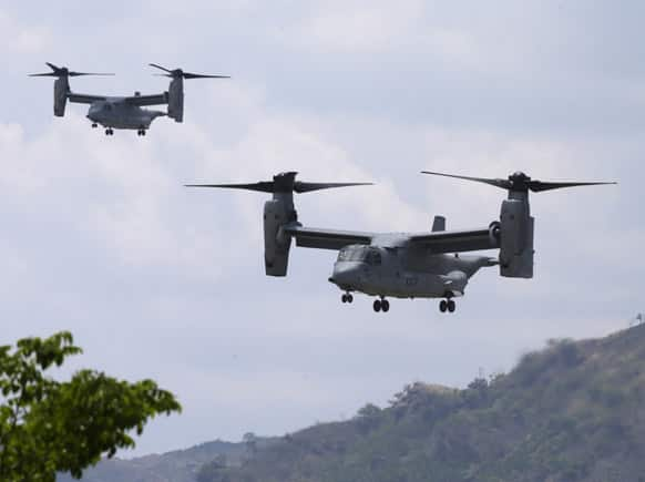 US Marine MV-22 Osprey transport planes prepare to land as they take part in the joint military exercise dubbed Balikatan 2013,