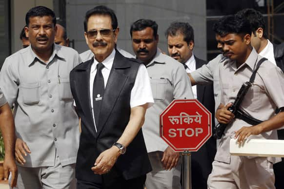 Chairman of Sahara India Pariwar Subrata Roy comes out of Securities Exchange Board of India (SEBI) office in Mumbai.