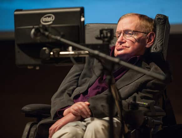 British cosmologist Stephen Hawking, who has motor neuron disease, gives a talk titled