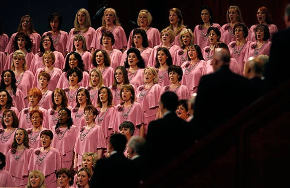 The Mormon Tabernacle Choir sings to end the morning session of the second day of the 183rd Church of Jesus Christ of Latter-day Saints General Conference in Salt Lake City.