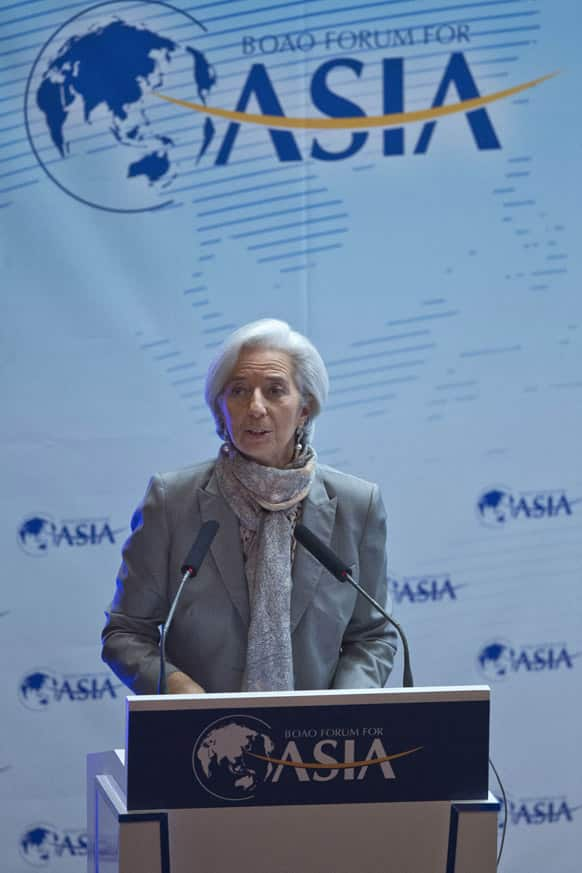 Managing Director of the International Monetary Fund Christine Lagarde speaks at a dialogue meeting during the annual Boao Forum in Boao, in southern China`s Hainan province.