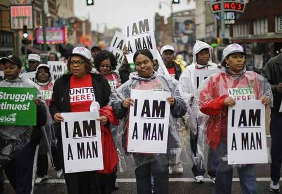 Demonstrators march to the National Civil Rights Museum, in Memphis, Tenn. Labor groups marched to call for better conditions on the 45th anniversary of the killing of King`s father, Dr. Martin Luther King Jr., who as assassinated April 4, 1968, while he was in Memphis to support striking sanitation workers.