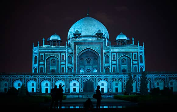 Humayun's Tomb is lit up in blue to mark World Autism Day in New Delhi.