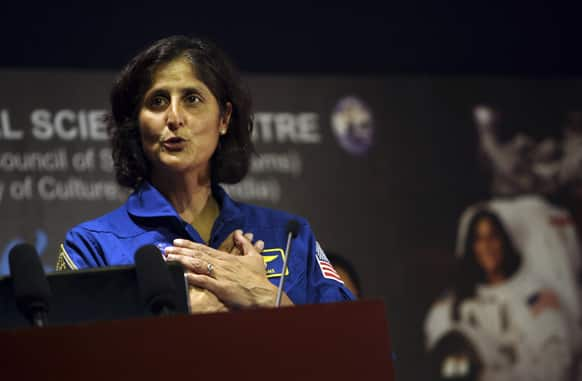 American astronaut of Indian origin Sunita Williams gestures during her interaction with Indian students at the National Science Center in New Delhi. Williams, 47, who lived and worked aboard the international space station for six months in 2006, is on a visit to India.