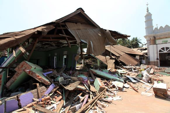 Debris from a destroyed mosque in Gyobingauk, Bago Region, about 125 miles from Yangon, Myanmar.