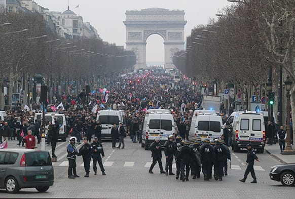 Anti gay marriage protesters block the Champs Elysee avenue during a demonstration in Paris.