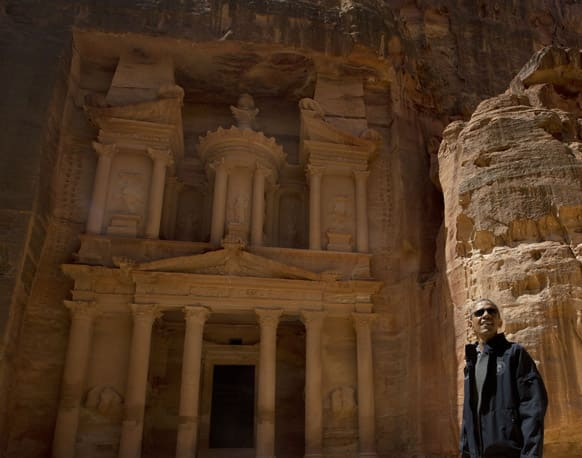 US President Barack Obama stops to look at the Treasury during his tour of the ancient city of Petra, Jordan.