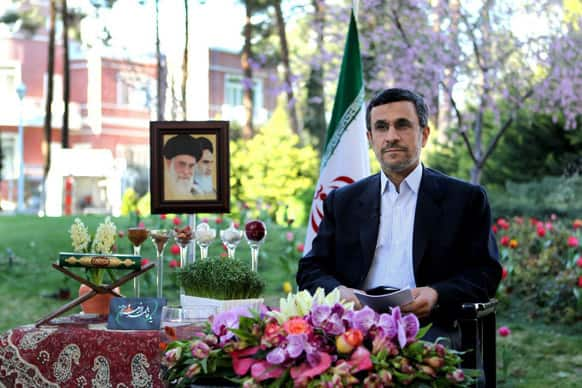Iranian President Mahmoud Ahmadinejad delivers a speech for the Iranian New Year, Nowruz, in Tehran.