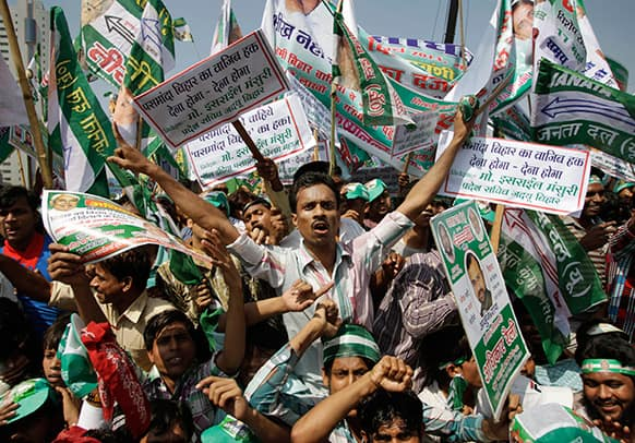 Janata Dal (United) party supporters shout slogans during Adhikar (Rights) rally demanding special status for Bihar state in New Delhi.