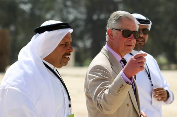 Britain`s Prince Charles during his visit to the Al Safwa Farm in Doha, Qatar.