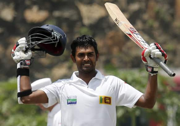 Sri Lanka`s Lahiru Thirimanne celebrates scoring a century during the second day of the first test cricket match against Bangladesh in Galle, Sri Lanka.