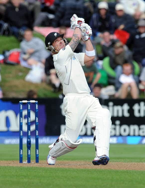 New Zealand`s Brendan McCullum skies the ball to be caught by England`s James Anderson for 74 off the bowling of Stuart Broad on the fourth day of the 1st international cricket Test, University Oval, Dunedin, New Zealand.