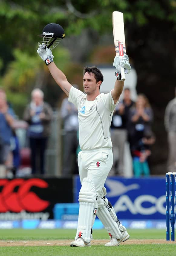 New Zealand`s Hamish Rutherford celebrates his maiden test century, against England on the third day of the 1st international cricket test, University Oval, Dunedin, New Zealand.