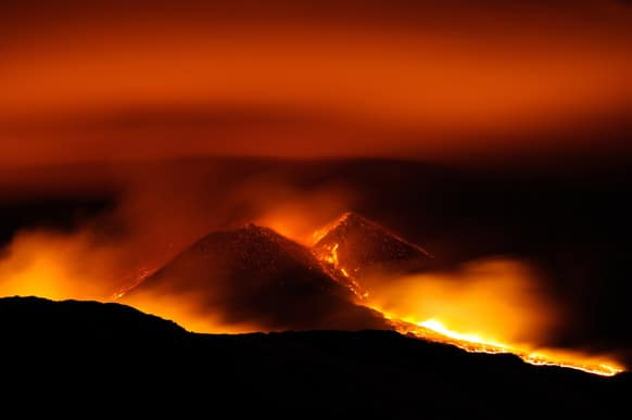 Lava erupts at the New Sud-Est crater of Mt. Etna`s volcano, near Catania, in Sicily, southern Italy. According to reports it is the seventh eruption of 2013 and it did not pose any threats to the nearby airport and inhabited areas.
