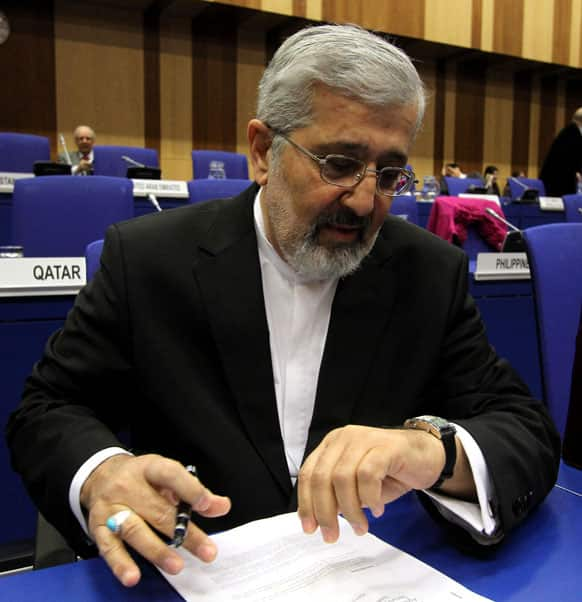Iran`s Ambassador to the International Atomic Energy Agency, IAEA, Ali Asghar Soltanieh waits for the start of the IAEA board of governors meeting at the International Center in Vienna, Austria.