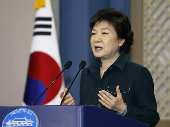 South Korea`s President Park Geun-hye speaks to the nation at the presidential Blue House in Seoul, South Korea.