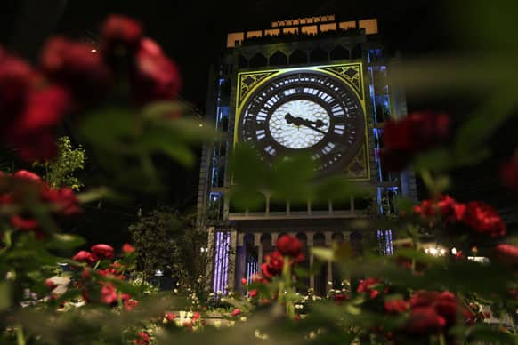Shown is a replica of the Elizabeth Tower of the Houses of Parliament during a preview for the annual Philadelphia Flower Show at the Pennsylvania Convention Center.