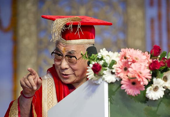 Tibetan spiritual leader the Dalai Lama speaks during the convocation ceremony of Central University of Himachal Pradesh near Dharmsala.