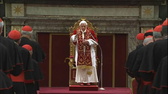 Pope Benedict XVI deliveres his final greetings to the assembly of cardinals at the Vatican, before he retires in just a few hours..