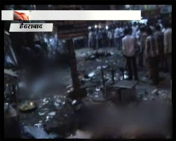 This TV grab shows the scene of a blast at Dilsukhnagar in Hyderabad. At least ten people were killed Thursday in a pair of explosions in crowded areas of the southern Indian city of Hyderabad, police said. More were feared dead and injured.