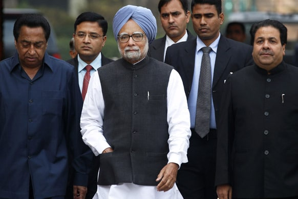 Prime Minister Manmohan Singh arrives at the Parliament in New Delhi. The budget session of the parliament began on Thursday.