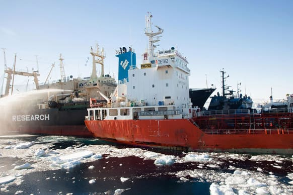 Nisshin Maru collides with the fuel tanker Sun Laurel in waters near Antarctica. Sea Shepherd Conservation Society founder Paul Watson said he was aboard the ship Steve Irwin when the Japanese boat Nisshin Maru collided with it, the Bob Barker and a tanker used to refuel the Japanese fleet.