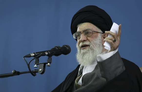 This photo released by an official website of the Iranian supreme leader`s office, Supreme Leader Ayatollah Ali Khamenei, speaks to the crowd in Tehran.