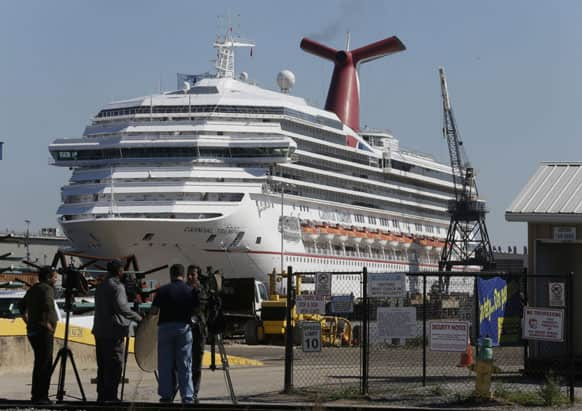 The cruise ship Carnival Triumph is moored at a dock in Mobile, Ala.