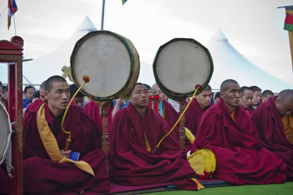 Exiled Tibetan Buddhist monks usher in the Tibetan New Year or Losar with ritual prayers at the Tsuglakhang temple in Dharmsala.