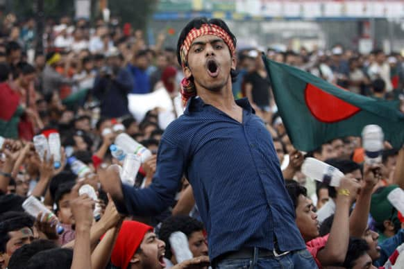 A Bangladeshi activist shouts slogans during a rally to demand executions for people convicted of war crimes involving the nation`s independence war in 1971, in Dhaka.