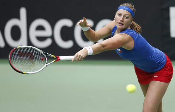 Czech Republic`s Petra Kvitova returns a ball to Australia`s Jarmila Gajdosova during their world group first round Fed Cup singles tennis match in Ostrava, Czech Republic.