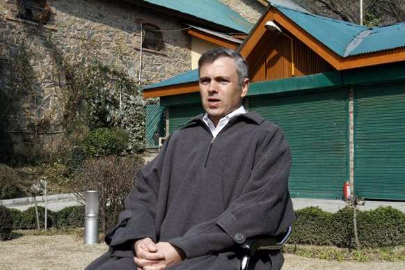 Jammu and Kashmir state Chief Minister Omar Abdullah addresses a press conference after the execution of Kashmiri Mohammed Afzal Guru, at his home in Srinagar.