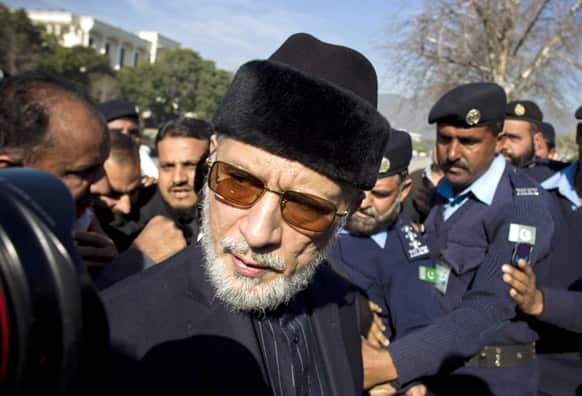 Pakistani cleric Tahir-ul-Qadri leaves the Supreme Court in Islamabad, Pakistan. Qadri filed a petition in the Supreme Court for the reconstitution of Election Commission of Pakistan. Government has suggested that election may be held in May 2013.