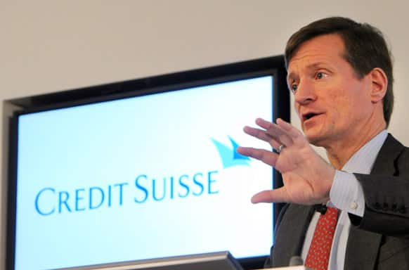 Credit Suisse CEO Brady W. Dougan speaks at a press conference announcing the bank`s 2012 full year result in Zurich, Switzerland.  Credit Suisse, Switzerland`s second-biggest bank, returned to profit in the fourth quarter of 2012 but said it was planning to cut costs more than previously planned.